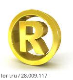 Купить «Registered trademark 3D golden sign», фото № 28009117, снято 20 июня 2019 г. (c) PantherMedia / Фотобанк Лори