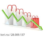 Купить «Shopping bag decreasing chart. Sales reduction chart. 3D», фото № 28009137, снято 26 марта 2019 г. (c) PantherMedia / Фотобанк Лори