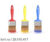 Купить «Three colorful paintbrushes. 3D», фото № 28010417, снято 23 мая 2019 г. (c) PantherMedia / Фотобанк Лори