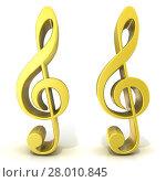 Купить «Golden treble clefs», фото № 28010845, снято 22 мая 2019 г. (c) PantherMedia / Фотобанк Лори