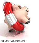 Купить «Piggy bank with lifebuoy», фото № 28010905, снято 31 марта 2020 г. (c) PantherMedia / Фотобанк Лори