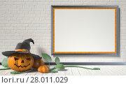 Купить «Jack O Lantern pumpkin, green leafs and mock up blank poster on white wall. 3D», фото № 28011029, снято 19 декабря 2018 г. (c) PantherMedia / Фотобанк Лори