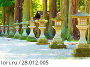 Купить «Traditional Japanese Stone Lanterns Shaded Path», фото № 28012005, снято 22 сентября 2018 г. (c) PantherMedia / Фотобанк Лори