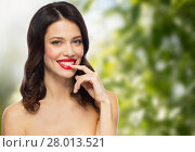 Купить «beautiful smiling young woman with red lipstick», фото № 28013521, снято 5 января 2018 г. (c) Syda Productions / Фотобанк Лори