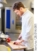 Купить «happy male chef cooking food at restaurant kitchen», фото № 28014081, снято 2 апреля 2017 г. (c) Syda Productions / Фотобанк Лори