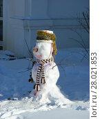 Купить «Забавный снеговик на территории монастыря», эксклюзивное фото № 28021853, снято 2 марта 2011 г. (c) lana1501 / Фотобанк Лори
