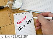 Купить «Never give up text concept on notebook», фото № 28022281, снято 23 марта 2019 г. (c) PantherMedia / Фотобанк Лори