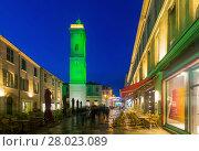 Купить «Night view of Nimes streets and building illuminated at dusk», фото № 28023089, снято 1 декабря 2017 г. (c) Яков Филимонов / Фотобанк Лори