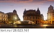 Evening view of Piazza de Ferrari, Genoa (2017 год). Стоковое фото, фотограф Яков Филимонов / Фотобанк Лори