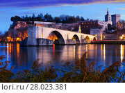 Купить «Pont St-Benezet, Palais des Papes and Rhone River at evening», фото № 28023381, снято 8 декабря 2017 г. (c) Яков Филимонов / Фотобанк Лори