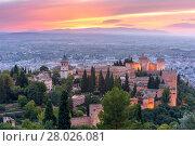 Купить «Alhambra at sunset in Granada, Andalusia, Spain», фото № 28026081, снято 17 января 2019 г. (c) PantherMedia / Фотобанк Лори