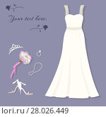 Купить «Bride's set. Wedding dress, tiara, ring, shoes, bouquet, necklace.», фото № 28026449, снято 20 марта 2018 г. (c) PantherMedia / Фотобанк Лори