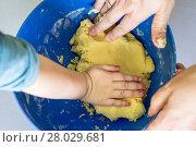 Купить «Children and dad hands preparing shortbread dough», фото № 28029681, снято 20 апреля 2018 г. (c) PantherMedia / Фотобанк Лори