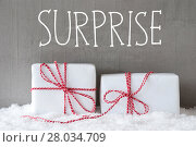 Купить «Two Gifts With Snow, Text Surprise», фото № 28034709, снято 20 января 2019 г. (c) PantherMedia / Фотобанк Лори