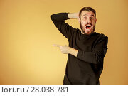 Купить «Portrait of young man with shocked facial expression», фото № 28038781, снято 27 июня 2019 г. (c) PantherMedia / Фотобанк Лори