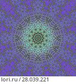 Купить «Abstract geometric seamless background, laces pattern. Ornate circle ornament in mint green, aquamarine and purple shades on dark brown, delicate and dreamy. », фото № 28039221, снято 24 февраля 2019 г. (c) PantherMedia / Фотобанк Лори
