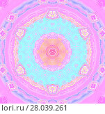 Купить «Abstract geometric seamless background. Concentric circle ornament in pink, violet, apricot and peach color, turquoise and purple shades, ornate and dreamy.», фото № 28039261, снято 22 июля 2018 г. (c) PantherMedia / Фотобанк Лори