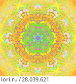 Купить «Abstract geometric seamless background, kaleidoscope. Regular ornament in yellow, orange and bright green shades with violet elements, ornate and extensive.», фото № 28039621, снято 17 июля 2018 г. (c) PantherMedia / Фотобанк Лори
