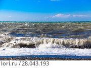 Купить «View of storm seascape.  Sea background. Waves.  waves crashing on shore», фото № 28043193, снято 17 ноября 2018 г. (c) PantherMedia / Фотобанк Лори