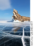 Купить «Baikal Lake. The famous Cape Dragon - the southern tip of Ogoy Island and a tourist landmark», фото № 28043477, снято 11 февраля 2018 г. (c) Виктория Катьянова / Фотобанк Лори