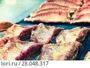 Купить «Meat ribs of pig roasting on barbecue», фото № 28048317, снято 30 апреля 2017 г. (c) Яков Филимонов / Фотобанк Лори
