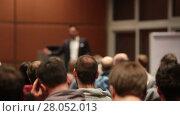 Купить «Public speaker giving talk at business event», видеоролик № 28052013, снято 5 апреля 2020 г. (c) Matej Kastelic / Фотобанк Лори