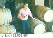 Купить «Handsome brunet man posing in winery cellar», фото № 28052881, снято 21 сентября 2016 г. (c) Яков Филимонов / Фотобанк Лори