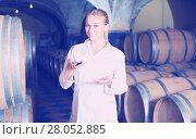 Купить «Woman checking ageing process of wine», фото № 28052885, снято 21 сентября 2016 г. (c) Яков Филимонов / Фотобанк Лори