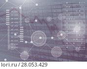 Купить «Interface overlay of connection statistics graphics with spreadsheet numerical figures background», фото № 28053429, снято 25 апреля 2019 г. (c) Wavebreak Media / Фотобанк Лори