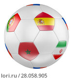 3D soccer ball with group B flags of Portugal, Spain, Morocco, Iran on white background. Стоковая иллюстрация, иллюстратор LVV / Фотобанк Лори
