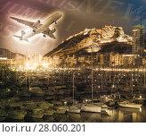 Купить «Plane with yachts», фото № 28060201, снято 14 апреля 2014 г. (c) Яков Филимонов / Фотобанк Лори