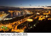 Malaga with Port from castle in twilight time (2014 год). Стоковое фото, фотограф Яков Филимонов / Фотобанк Лори