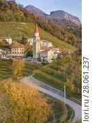 Купить «Rolle surrounded by Prosecco vineyards, Cison di Valmarino, Treviso, Veneto, Italy.», фото № 28061237, снято 24 августа 2019 г. (c) age Fotostock / Фотобанк Лори