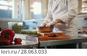 Chef serves the salad by placing the ingredients on a plate. Стоковое видео, видеограф Константин Шишкин / Фотобанк Лори