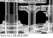 Купить «Gears, shafts and bearings. X-ray render», иллюстрация № 28063061 (c) Кирилл Черезов / Фотобанк Лори