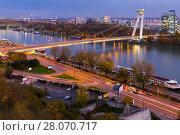 Night view on UFO Bridge in slovakian city Bratislava (2017 год). Стоковое фото, фотограф Яков Филимонов / Фотобанк Лори