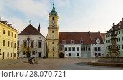 Main Square in Bratislava historic city center (2017 год). Стоковое фото, фотограф Яков Филимонов / Фотобанк Лори