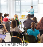 Купить «Speaker giving presentation on business conference.», фото № 28074809, снято 22 сентября 2018 г. (c) Matej Kastelic / Фотобанк Лори