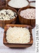 Купить «Six bowls with different varieties», фото № 28084197, снято 14 января 2018 г. (c) Елена Блохина / Фотобанк Лори