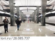 Russia, Moscow, February 27, 2018: Petrovsky Park metro station, a new station opened on February 26, 2018. Редакционное фото, фотограф Татьяна Васильева / Фотобанк Лори