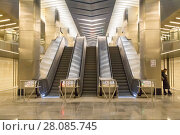 Russia, Moscow, February 27, 2018: Business center  metro station, a new station opened on February 26, 2018. Редакционное фото, фотограф Татьяна Васильева / Фотобанк Лори