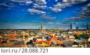 Купить «Panoramic aerial cityscape of Copenhagen city, Denmark», фото № 28088721, снято 15 июня 2014 г. (c) Сергей Майоров / Фотобанк Лори