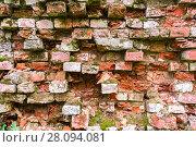 Купить «Background texture of an old wall with bricks», фото № 28094081, снято 17 августа 2017 г. (c) FotograFF / Фотобанк Лори