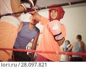 Купить «Boxer sparring on the ring», фото № 28097821, снято 12 апреля 2017 г. (c) Яков Филимонов / Фотобанк Лори