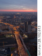Купить «Third Transport Ring, river, industrial area in Moscow, Russia at evening, top view», фото № 28102613, снято 31 октября 2015 г. (c) Losevsky Pavel / Фотобанк Лори