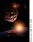 Купить «Garbage in space concept. Crumbled paper ball meteorite over the dark planet Earth», фото № 28111193, снято 15 июля 2020 г. (c) easy Fotostock / Фотобанк Лори