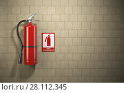 Купить «Fire extinguisher with emergency fire sign on the wall background.», фото № 28112345, снято 1 августа 2018 г. (c) Maksym Yemelyanov / Фотобанк Лори