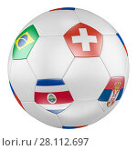 3D soccer ball with group E flags of Brazil, Switzerland, Costa Rica, Serbia on white background. Match between and. Стоковая иллюстрация, иллюстратор LVV / Фотобанк Лори