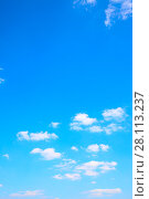 Купить «Blue sky with clouds», фото № 28113237, снято 10 августа 2017 г. (c) Роман Сигаев / Фотобанк Лори