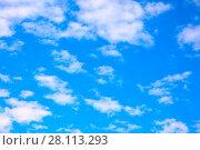 Купить «Blue sky with clouds», фото № 28113293, снято 4 июля 2017 г. (c) Роман Сигаев / Фотобанк Лори